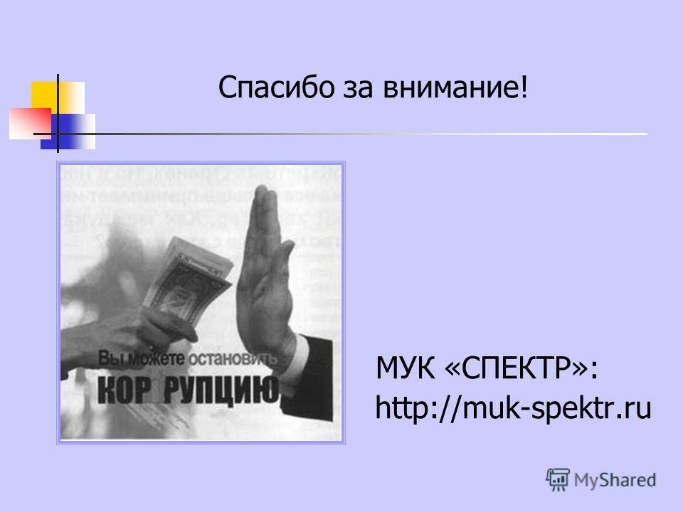 Спасибо за внимание! МУК «СПЕКТР»: http://muk-spektr.ru