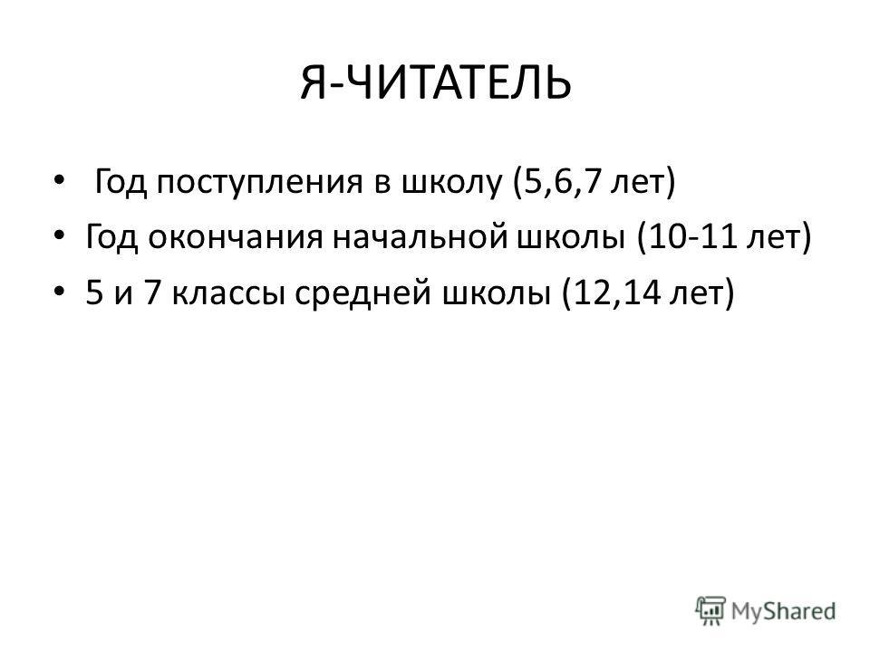 Я-ЧИТАТЕЛЬ Год поступления в школу (5,6,7 лет) Год окончания начальной школы (10-11 лет) 5 и 7 классы средней школы (12,14 лет)