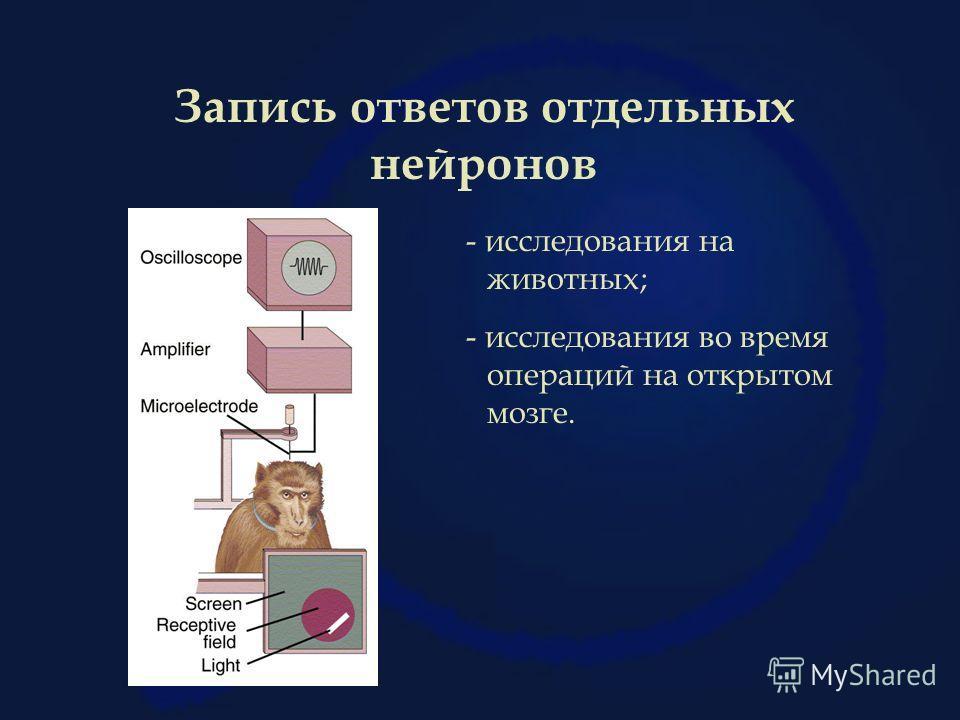 Запись ответов отдельных нейронов - исследования на животных; - исследования во время операций на открытом мозге.