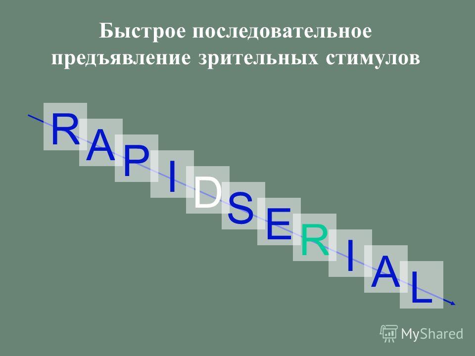 VISUAL PRESENTATION Быстрое последовательное предъявление зрительных стимулов R A P I D S E R I A L