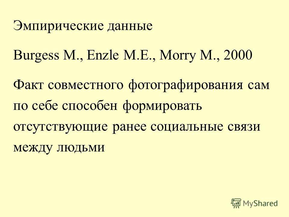 Эмпирические данные Burgess M., Enzle M.E., Morry M., 2000 Факт совместного фотографирования сам по себе способен формировать отсутствующие ранее социальные связи между людьми