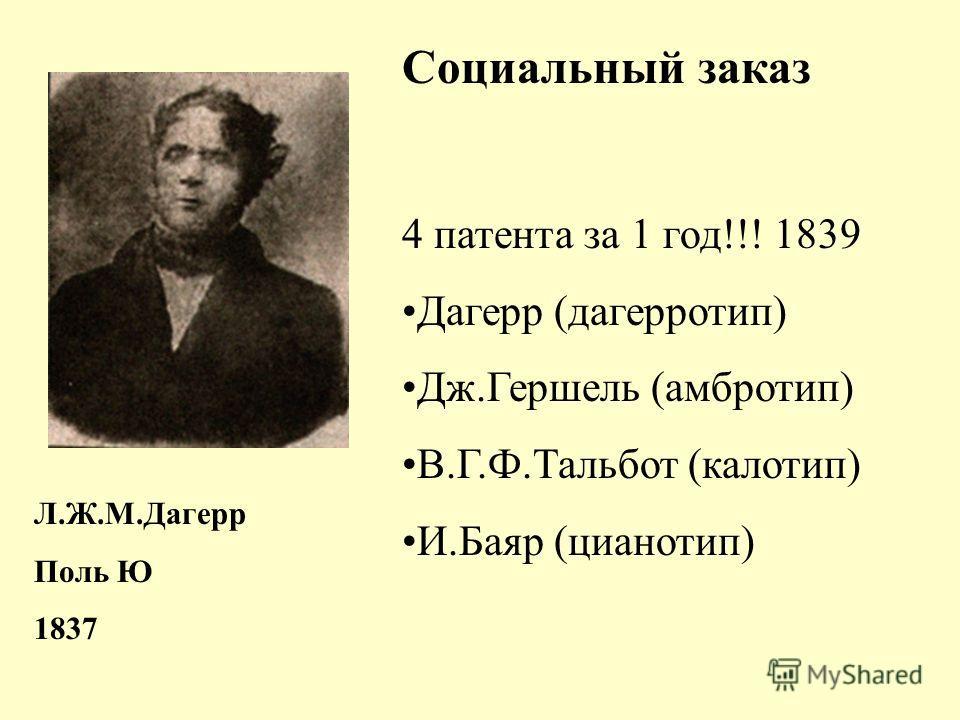 Социальный заказ 4 патента за 1 год!!! 1839 Дагерр (дагерротип) Дж.Гершель (амбротип) В.Г.Ф.Тальбот (калотип) И.Баяр (цианотип) Л.Ж.М.Дагерр Поль Ю 1837