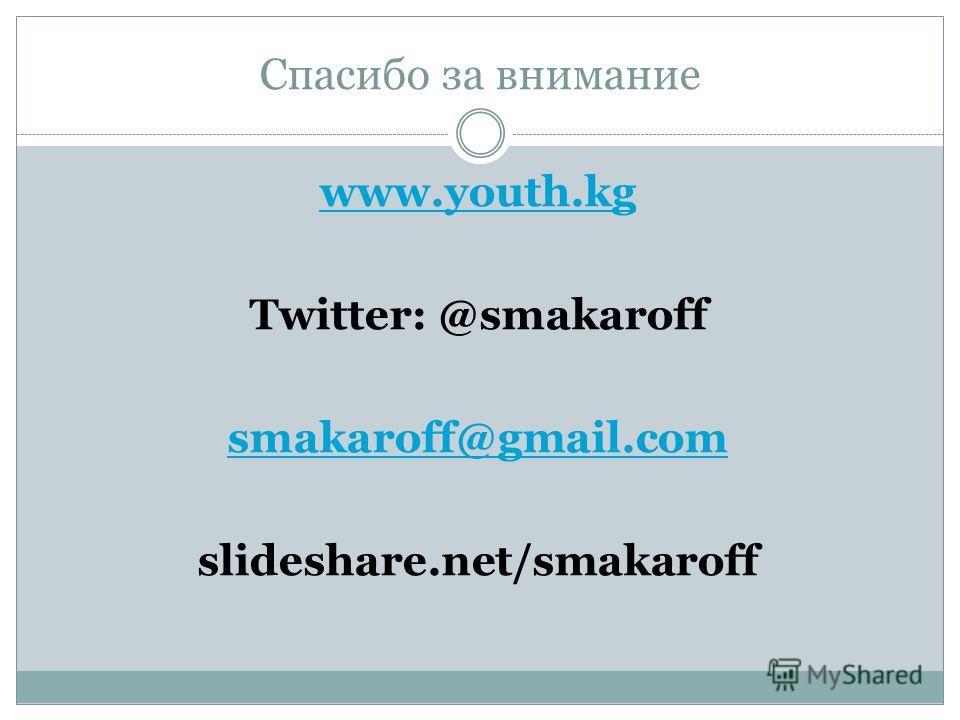 Спасибо за внимание www.youth.kg Twitter: @smakaroff smakaroff@gmail.com slideshare.net/smakaroff