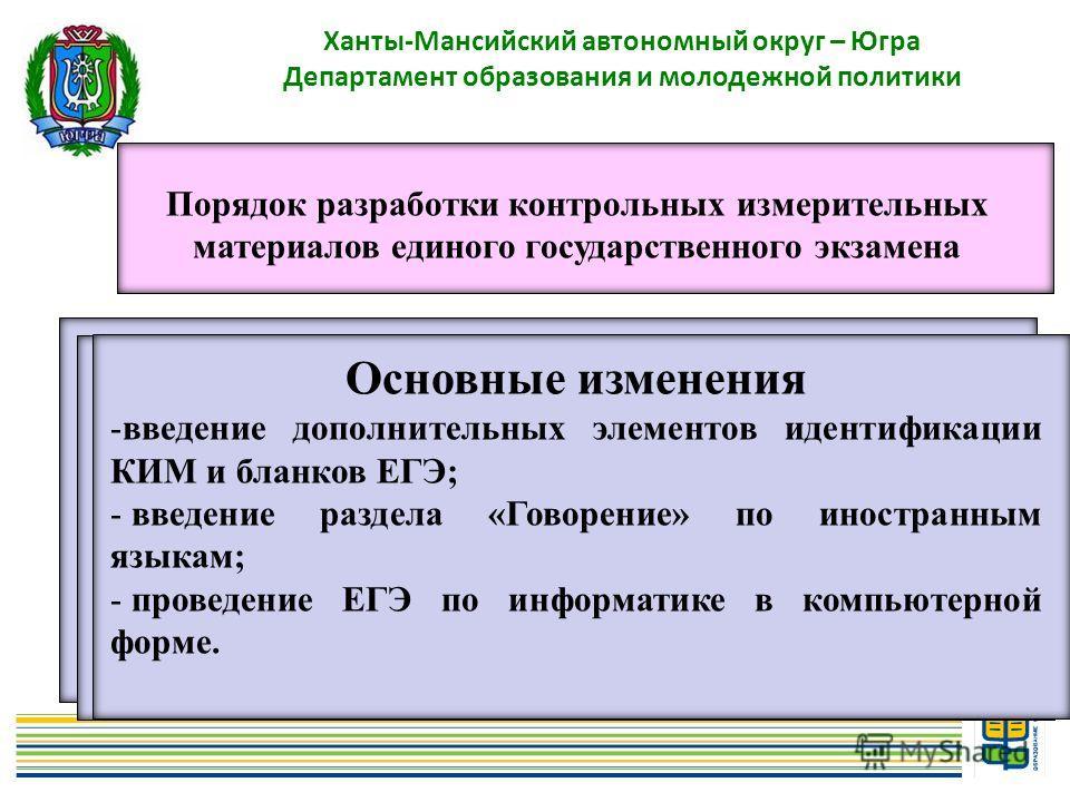 9 Ханты-Мансийский автономный округ – Югра Департамент образования и молодежной политики Порядок разработки контрольных измерительных материалов единого государственного экзамена - задания с выбором одного ответа из нескольких предложенных вариантов;
