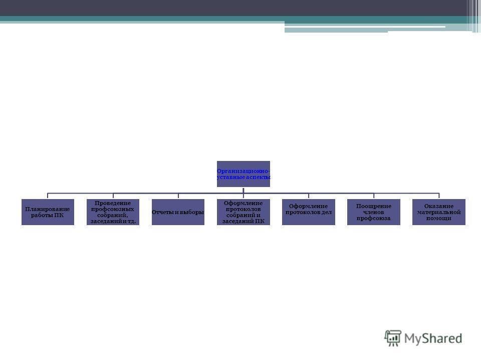 Организационно- уставные аспекты Планирование работы ПК Проведение профсоюзных собраний, заседаний и тд. Отчеты и выборы Оформление протоколов собраний и заседаний ПК Оформление протоколов дел Поощрение членов профсоюза Оказание материальной помощи