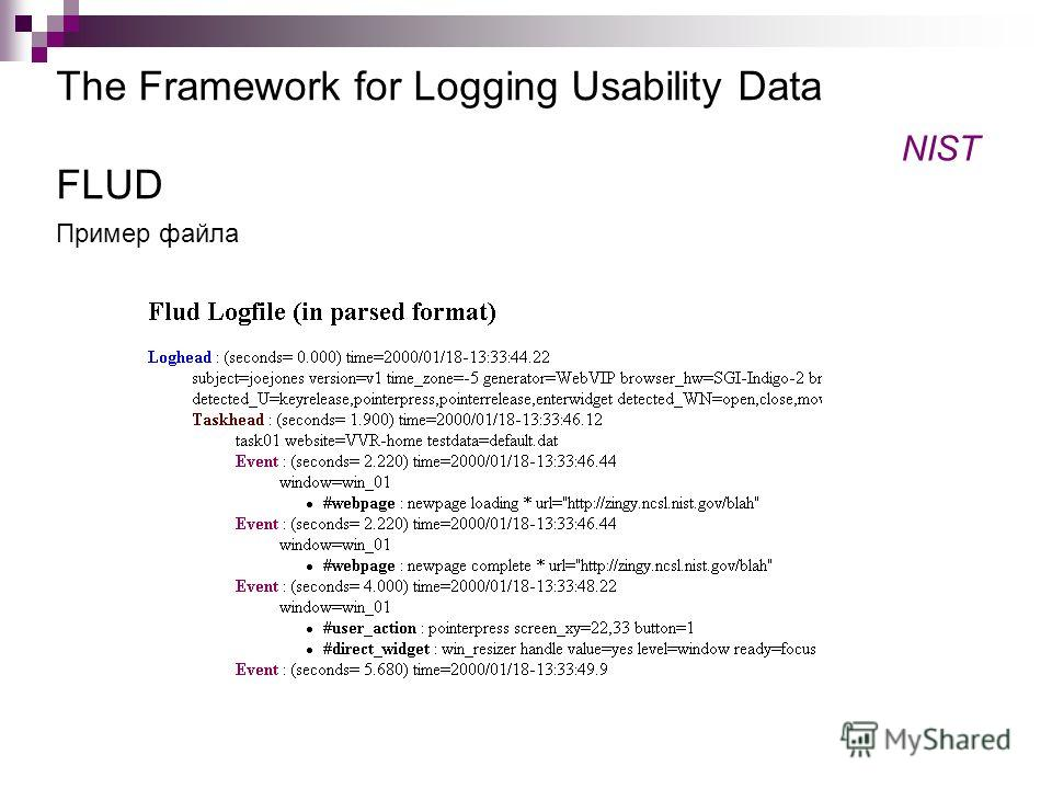 The Framework for Logging Usability Data FLUD NIST Пример файла