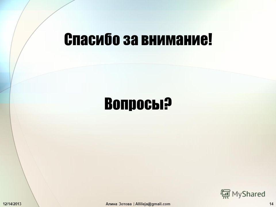 12/14/2013Алина Зотова | Allileja@gmail.com14 Вопросы? Спасибо за внимание!