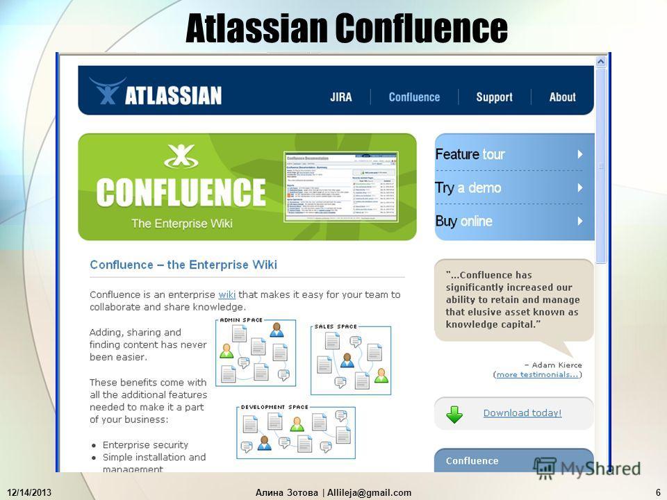 12/14/2013Алина Зотова   Allileja@gmail.com6 Atlassian Confluence