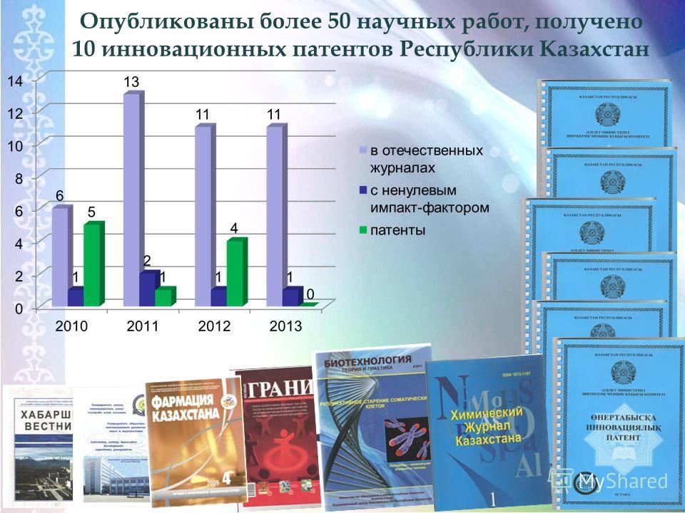 Опубликованы более 50 научных работ, получено 10 инновационных патентов Республики Казахстан