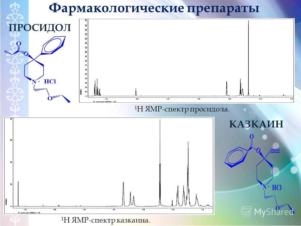 Фармакологические препараты КАЗКАИН 1 Н ЯМР-спектр казкаина. 1 Н ЯМР-спектр просидола. ПРОСИДОЛ