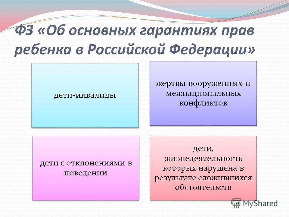 ФЗ «Об основных гарантиях прав ребенка в Российской Федерации» дети-инвалиды жертвы вооруженных и межнациональных конфликтов дети с отклонениями в поведении дети, жизнедеятельность которых нарушена в результате сложившихся обстоятельств