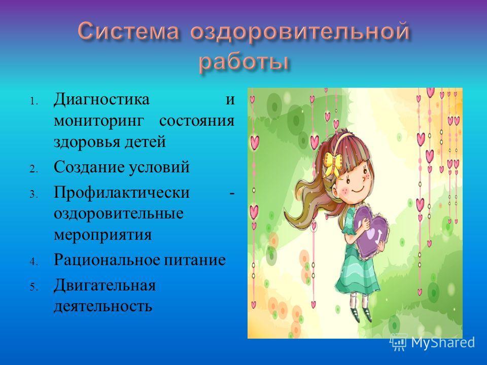 1. Диагностика и мониторинг состояния здоровья детей 2. Создание условий 3. Профилактически - оздоровительные мероприятия 4. Рациональное питание 5. Двигательная деятельность