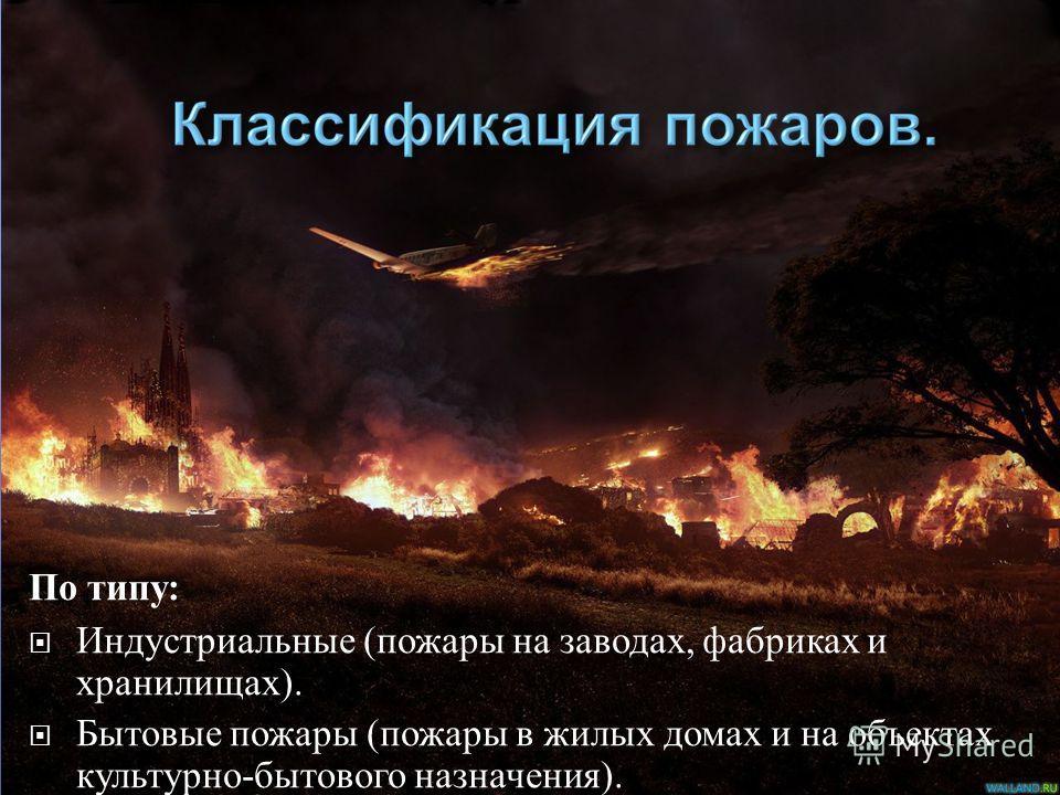 По типу : Индустриальные (пожары на заводах, фабриках и хранилищах). Бытовые пожары (пожары в жилых домах и на объектах культурно-бытового назначения). Природные пожары (лесные, степные, торфяные и ландшафтные пожары).