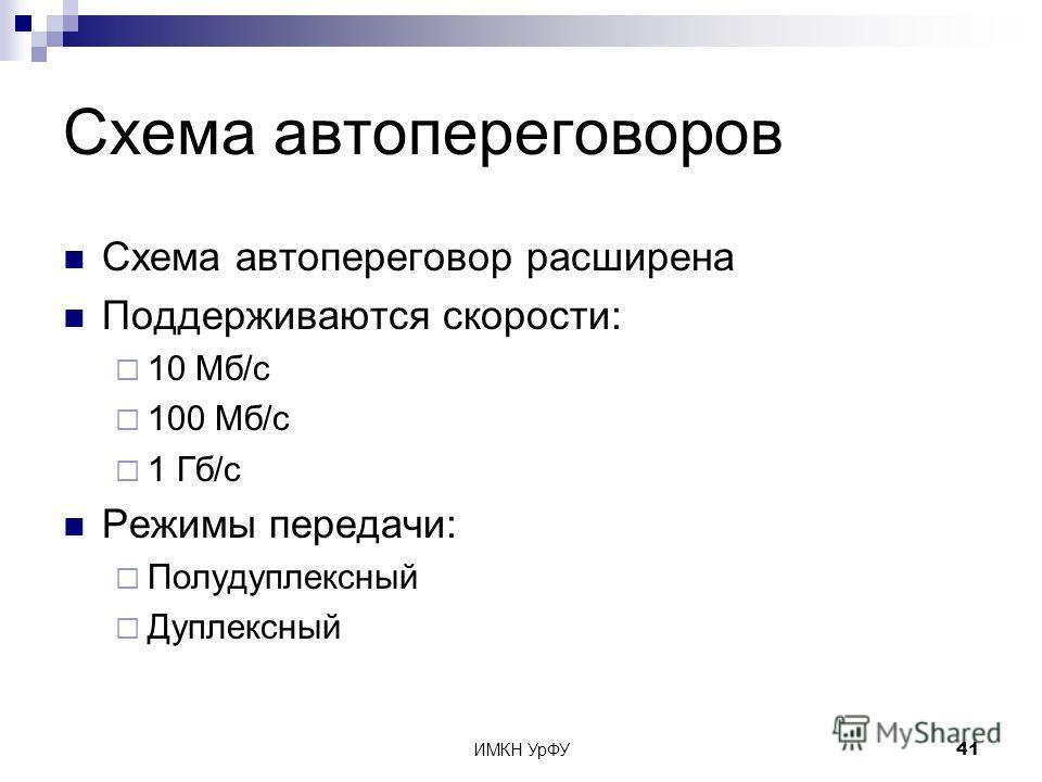 ИМКН УрФУ41 Схема автопереговоров Схема автопереговор расширена Поддерживаются скорости: 10 Мб/с 100 Мб/с 1 Гб/с Режимы передачи: Полудуплексный Дуплексный