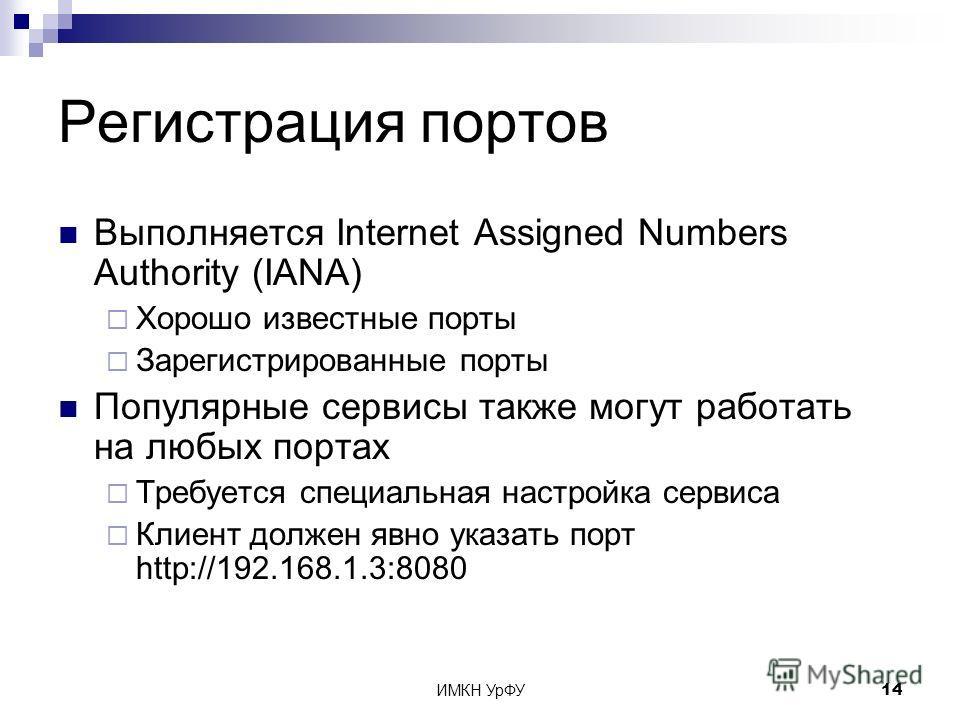 ИМКН УрФУ14 Регистрация портов Выполняется Internet Assigned Numbers Authority (IANA) Хорошо известные порты Зарегистрированные порты Популярные сервисы также могут работать на любых портах Требуется специальная настройка сервиса Клиент должен явно у