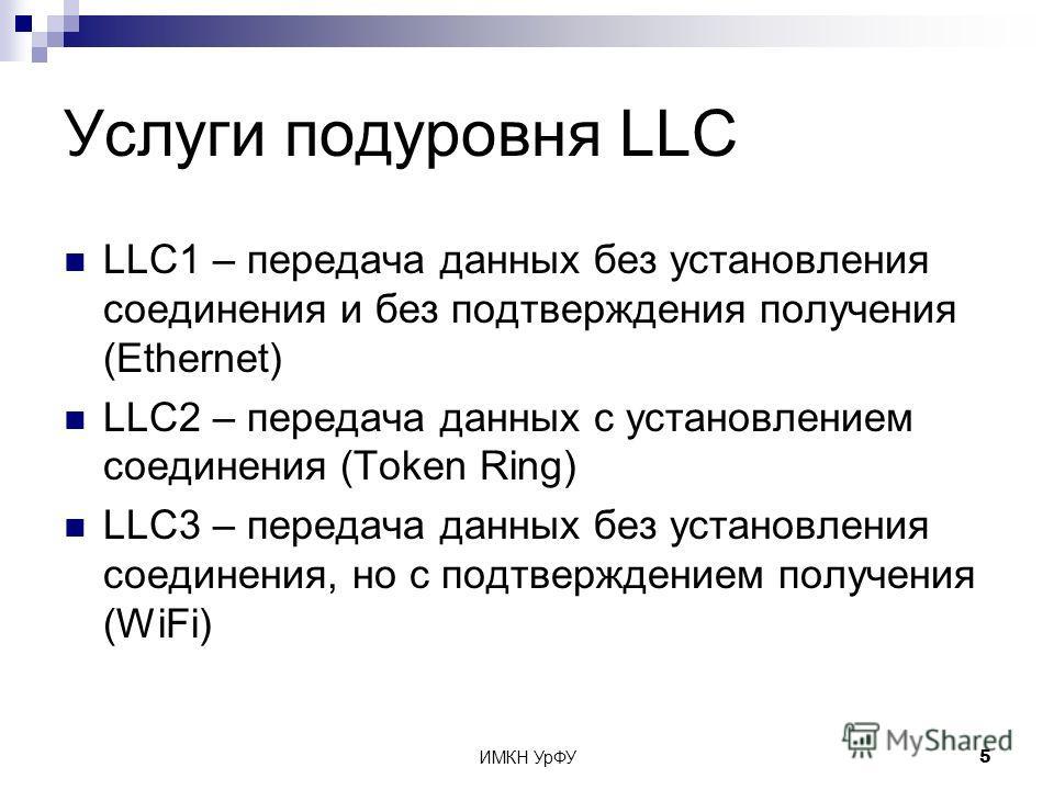 ИМКН УрФУ5 Услуги подуровня LLC LLC1 – передача данных без установления соединения и без подтверждения получения (Ethernet) LLC2 – передача данных с установлением соединения (Token Ring) LLC3 – передача данных без установления соединения, но с подтве