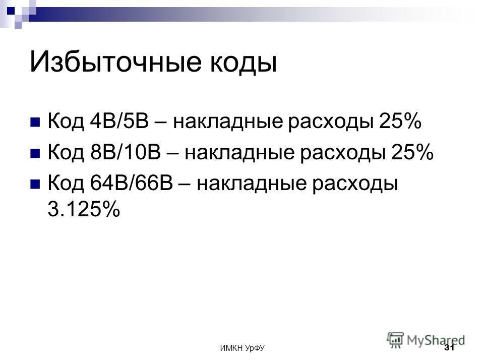ИМКН УрФУ31 Избыточные коды Код 4B/5B – накладные расходы 25% Код 8B/10B – накладные расходы 25% Код 64B/66B – накладные расходы 3.125%