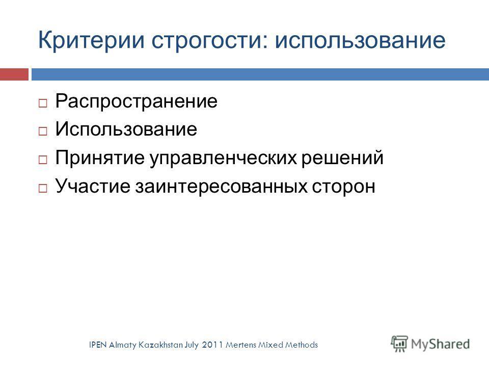 Критерии строгости: использование IPEN Almaty Kazakhstan July 2011 Mertens Mixed Methods Распространение Использование Принятие управленческих решений Участие заинтересованных сторон