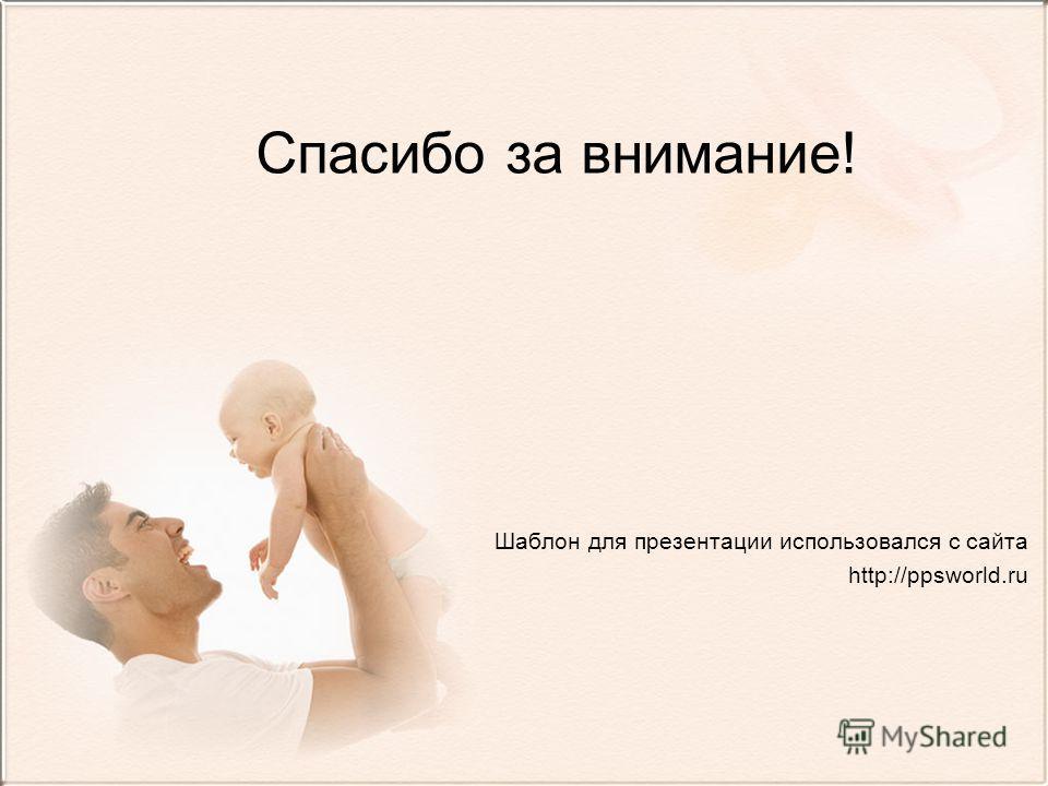 Спасибо за внимание! Шаблон для презентации использовался с сайта http://ppsworld.ru