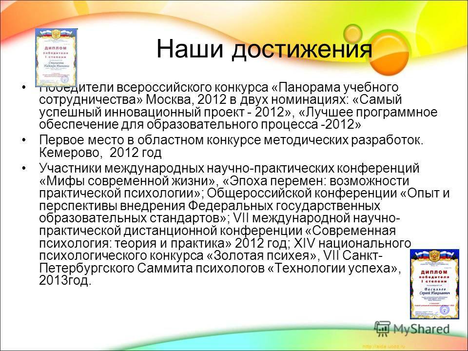 Наши достижения Победители всероссийского конкурса «Панорама учебного сотрудничества» Москва, 2012 в двух номинациях: «Самый успешный инновационный проект - 2012», «Лучшее программное обеспечение для образовательного процесса -2012» Первое место в об