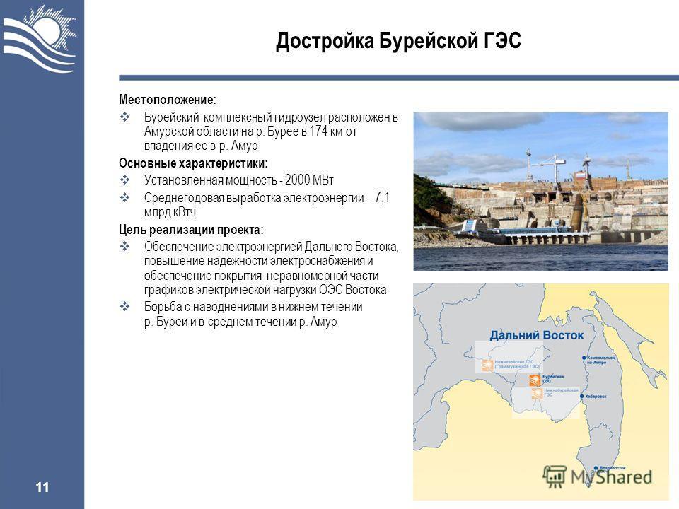 11 Достройка Бурейской ГЭС Местоположение: Бурейский комплексный гидроузел расположен в Амурской области на р. Бурее в 174 км от впадения ее в р. Амур Основные характеристики: Установленная мощность - 2000 МВт Среднегодовая выработка электроэнергии –