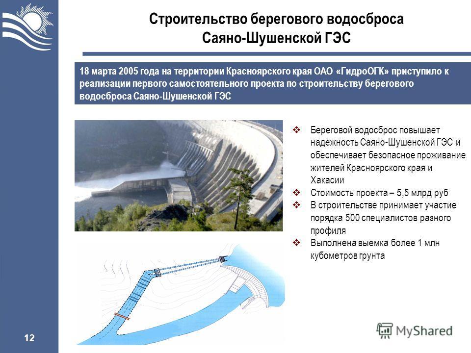 12 Строительство берегового водосброса Саяно-Шушенской ГЭС 18 марта 2005 года на территории Красноярского края ОАО «ГидроОГК» приступило к реализации первого самостоятельного проекта по строительству берегового водосброса Саяно-Шушенской ГЭС Берегово