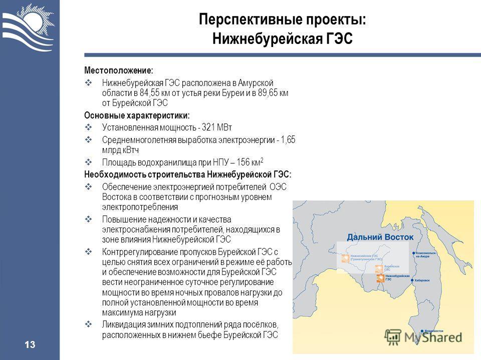 13 Перспективные проекты: Нижнебурейская ГЭС Местоположение: Нижнебурейская ГЭС расположена в Амурской области в 84,55 км от устья реки Буреи и в 89,65 км от Бурейской ГЭС Основные характеристики: Установленная мощность - 321 МВт Среднемноголетняя вы