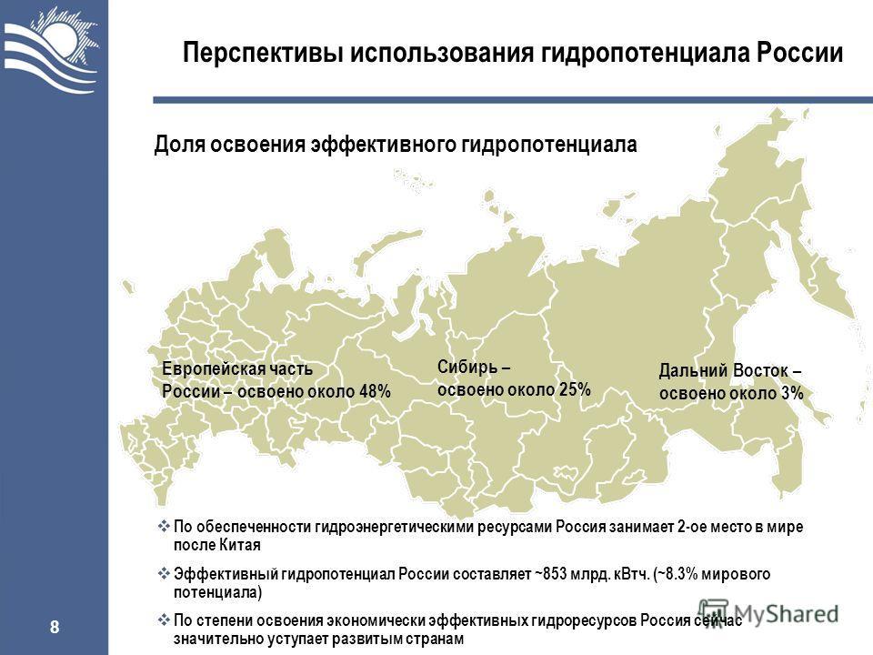 8 Перспективы использования гидропотенциала России Европейская часть России – освоено около 48% Дальний Восток – освоено около 3% Сибирь – освоено около 25% Доля освоения эффективного гидропотенциала По обеспеченности гидроэнергетическими ресурсами Р