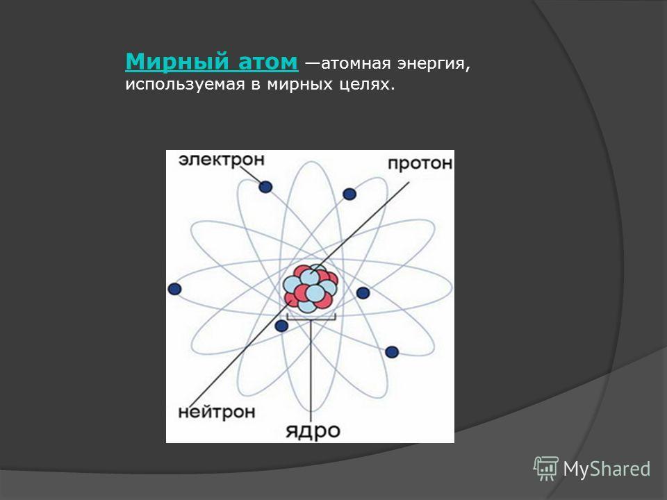 Мирный атом Мирный атом атомная энергия, используемая в мирных целях.