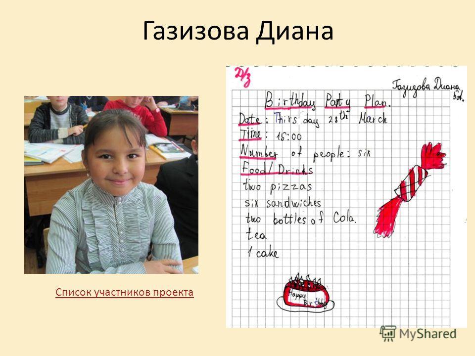 Газизова Диана Список участников проекта