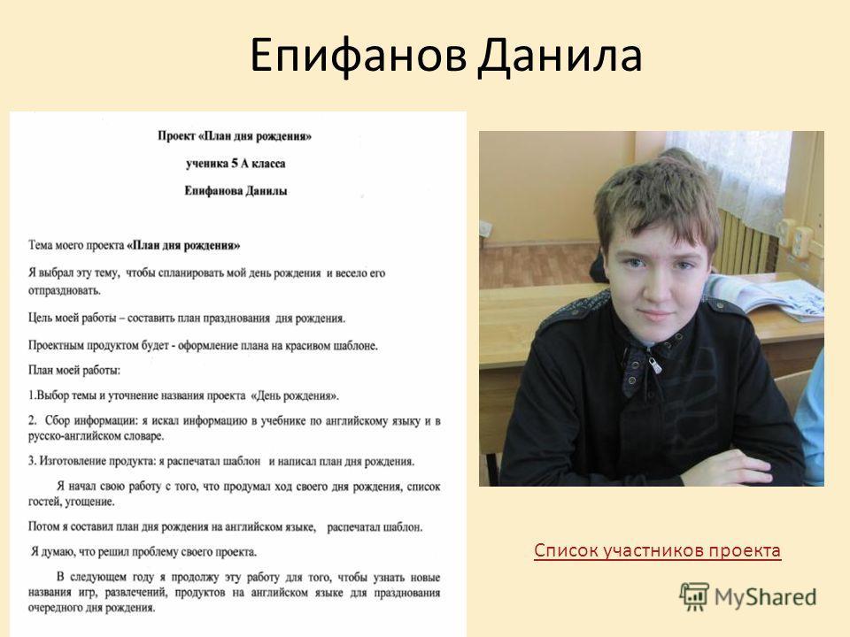 Епифанов Данила Список участников проекта