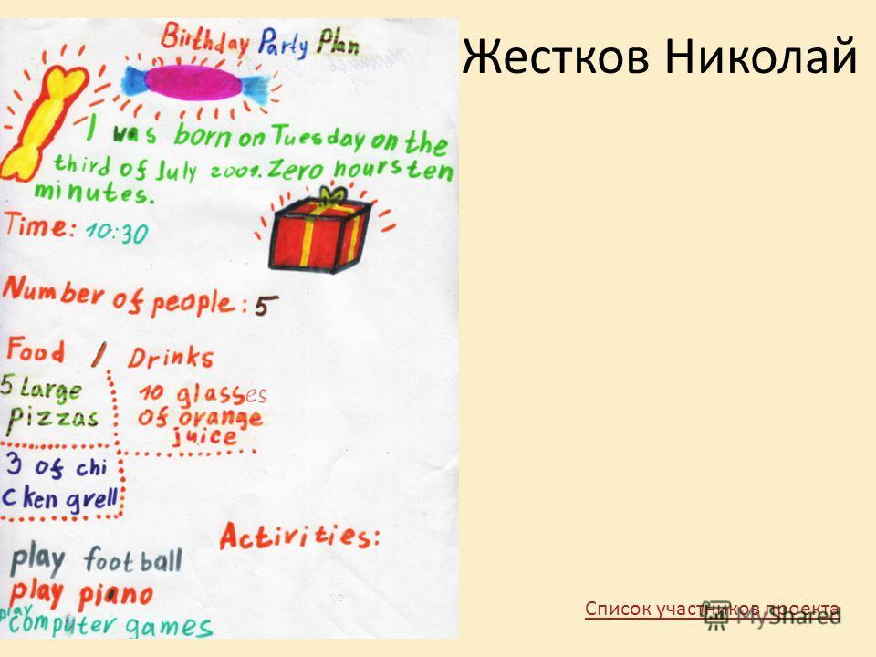 Жестков Николай Список участников проекта