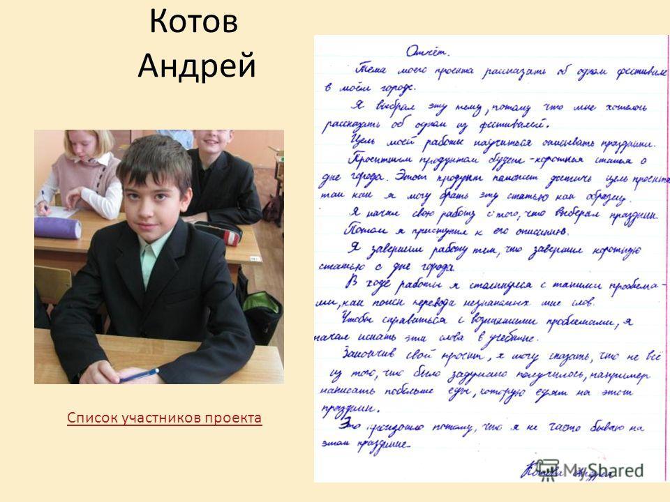 Котов Андрей Список участников проекта