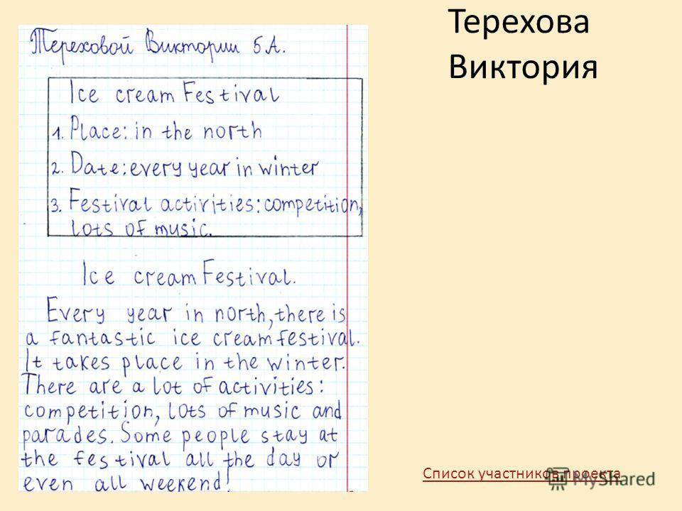 Терехова Виктория Список участников проекта