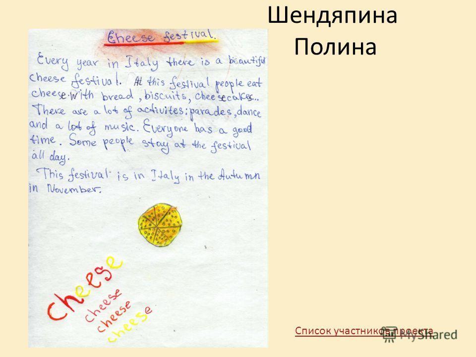 Шендяпина Полина Список участников проекта
