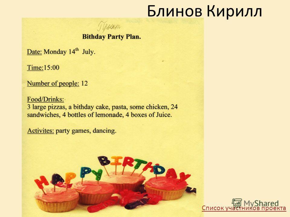 Блинов Кирилл Список участников проекта
