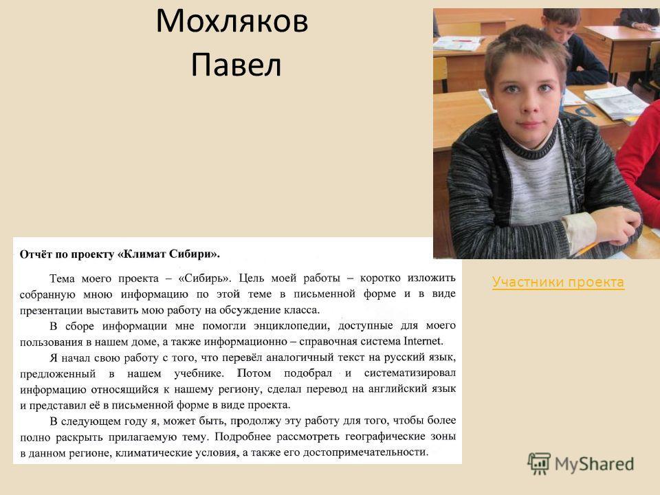 Мохляков Павел Участники проекта