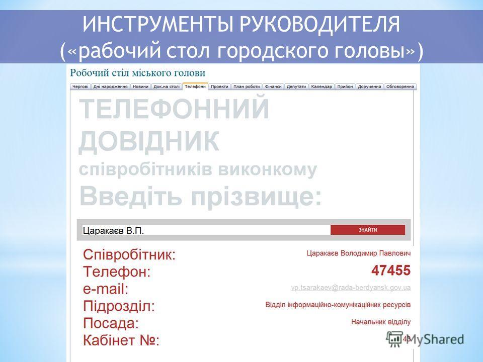 ИНСТРУМЕНТЫ РУКОВОДИТЕЛЯ («рабочий стол городского головы»)