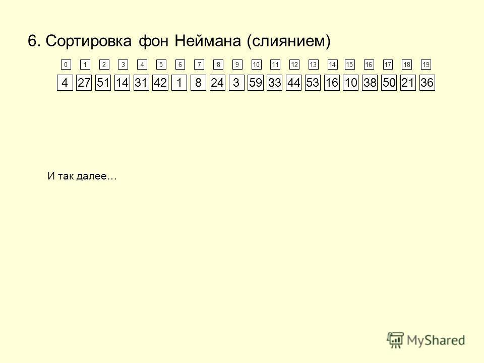 123456789101112131415161718190 134810141621243133363842445027515359 6. Сортировка фон Неймана (слиянием) И так далее…