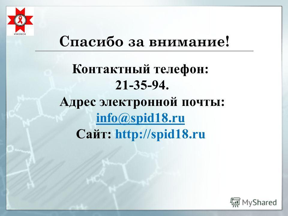 Спасибо за внимание! Контактный телефон: 21-35-94. Адрес электронной почты: info@spid18.ru Сайт: http://spid18.ru