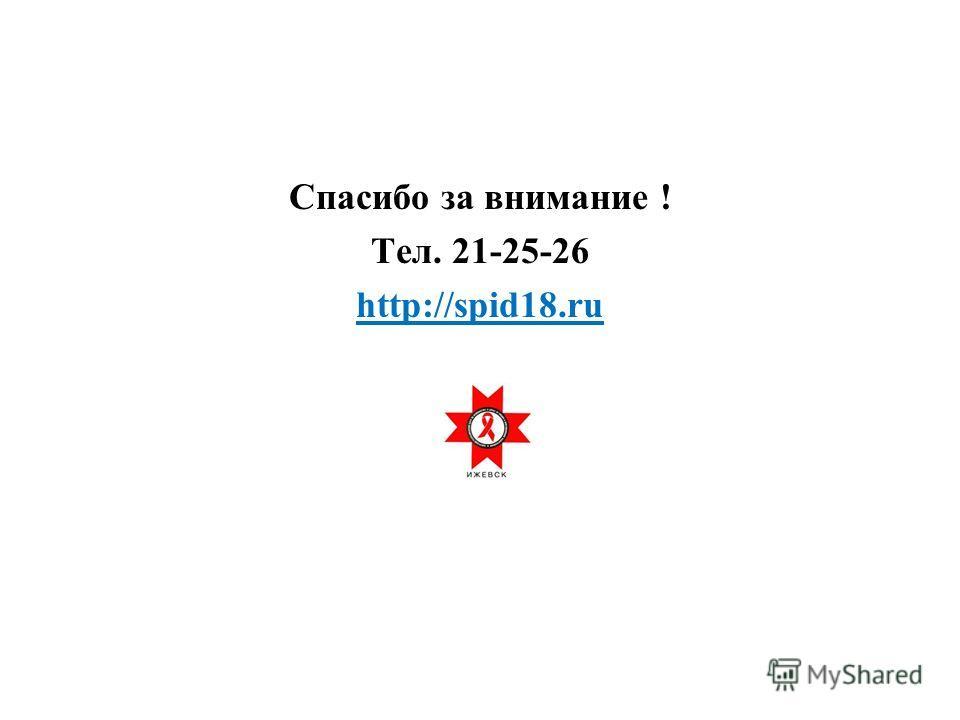 Спасибо за внимание ! Тел. 21-25-26 http://spid18.ru