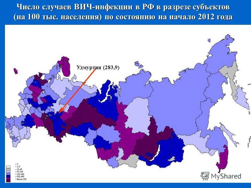 Число случаев ВИЧ-инфекции в РФ в разрезе субъектов (на 100 тыс. населения) по состоянию на начало 2012 года – 0 – 1-9 – 10-49 – 50-149 – 150-299 – 300-499 – Более 500 Удмуртия (283,9)