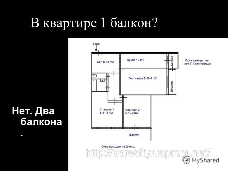 В квартире 1 балкон? Нет. Два балкона.