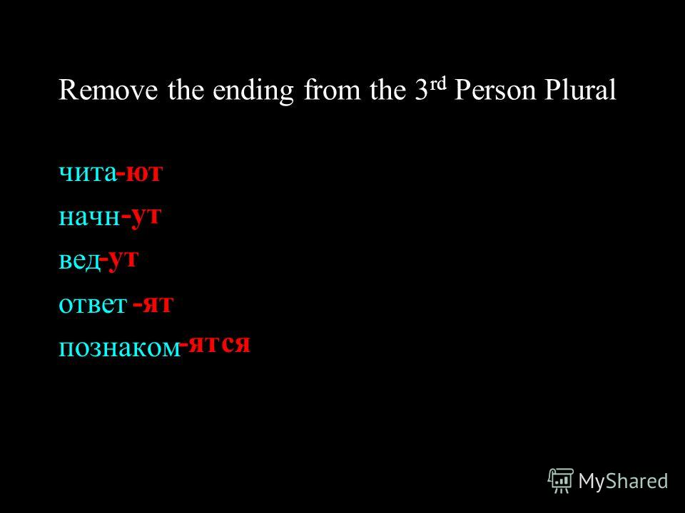 Remove the ending from the 3 rd Person Plural читa начн вед ответ познаком -ют -ут -ят -ятся