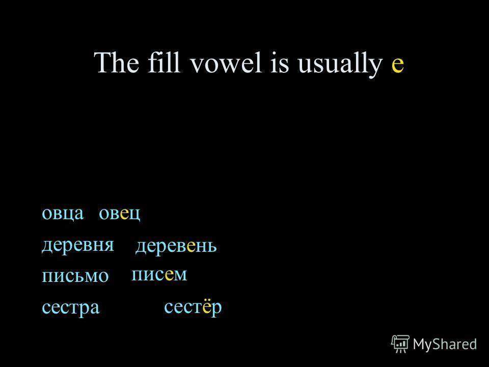 The fill vowel is usually e овца деревня письмо сестра овец деревень писем сестёр
