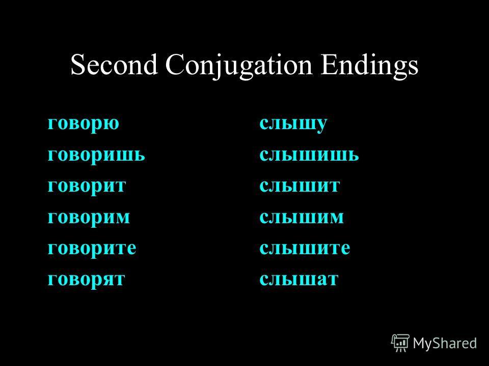 Second Conjugation Endings говорю говоришь говорит говорим говорите говорят слышу слышишь слышит слышим слышите слышат