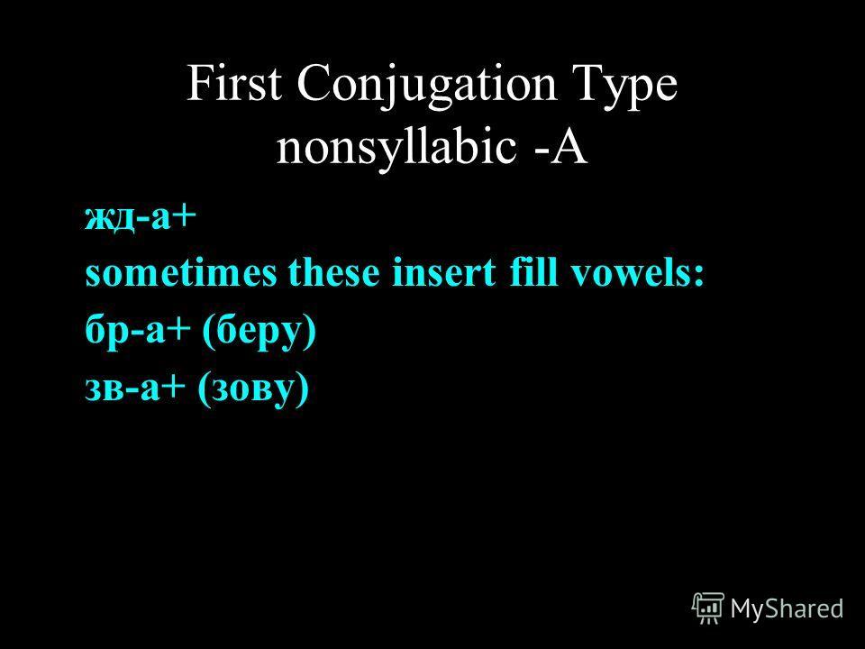 First Conjugation Type nonsyllabic -А жд-а+ sometimes these insert fill vowels: бр-а+ (беру) зв-а+ (зову)