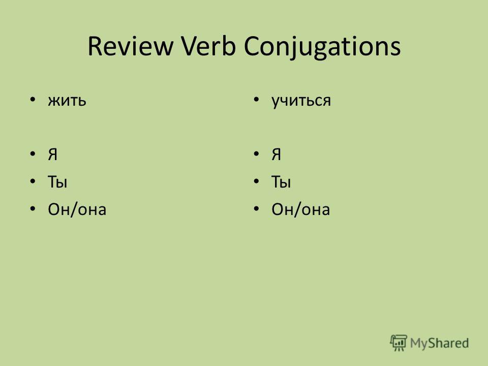 Review Verb Conjugations жить Я Ты Он/она учиться Я Ты Он/она