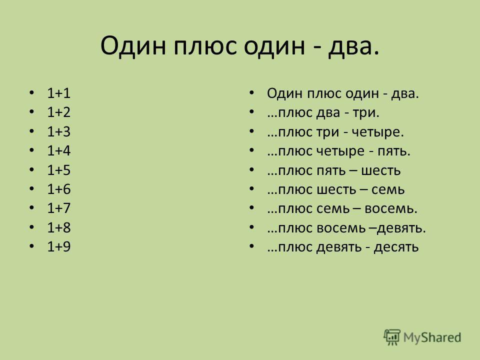 Один плюc один - два. 1+1 1+2 1+3 1+4 1+5 1+6 1+7 1+8 1+9 Один плюc один - два. …плюc два - три. …плюc три - четыре. …плюc четыре - пять. …плюc пять – шесть …плюc шесть – семь …плюс семь – восемь. …плюс восемь –девять. …плюс девять - десять