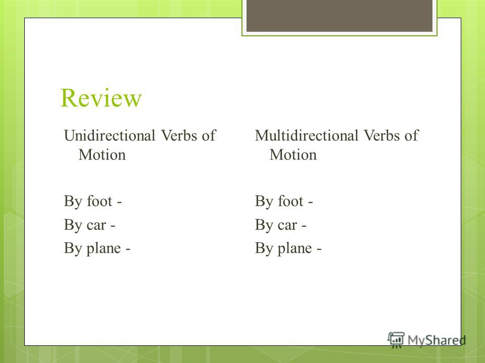 Review Unidirectional Verbs of Motion By foot - By car - By plane - Multidirectional Verbs of Motion By foot - By car - By plane -